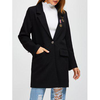 Badge Applique One Button Walker Coat