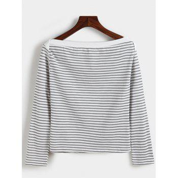 Boat Neck Striped Long Sleeves Tee