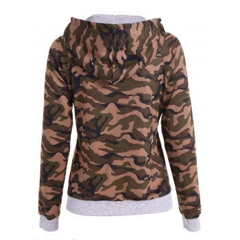 Pullover Camo Print Drawstring Hoodie - ARMY GREEN CAMOUFLAGE L