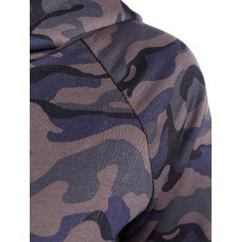 Drwastring Camouflage Print Paneled Hoodie - CAMOUFLAGE COLOR S