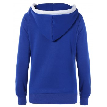 Lace Up Contrast Hoodie - BLUE S