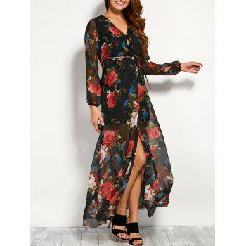 Chiffon Floral Maxi Sheer Wrap Dress with Sleeves