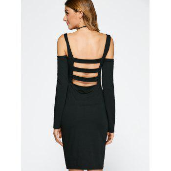 Cold Shoulder Backless Bandage Sheath Cocktail Dress - BLACK S