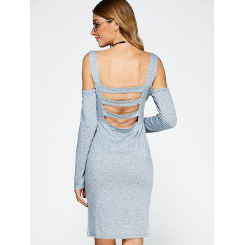 Cold Shoulder Backless Bandage Sheath Cocktail Dress - GRAY S