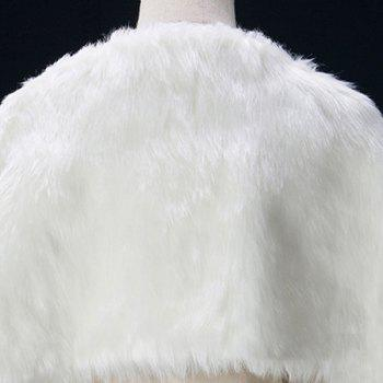 Faux Fur Wedding Pashmina - WHITE