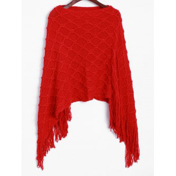 Asymmetrical Fringed Poncho Sweater
