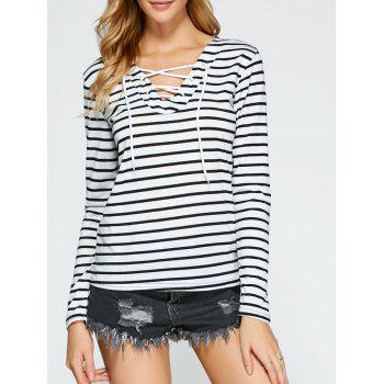 Lace Up Long Sleeve Striped T-Shirt