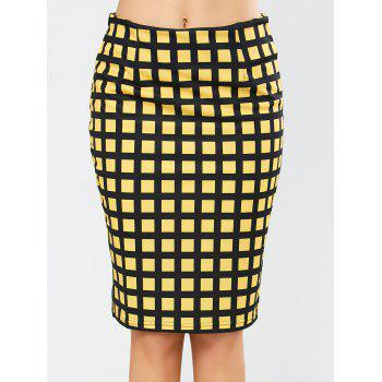 Grid Knee Length Plaid Pencil Skirt