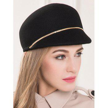 Wool Felt Chain Embellished Beret Hat