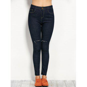 High Rise Ripped Ponte Jeans