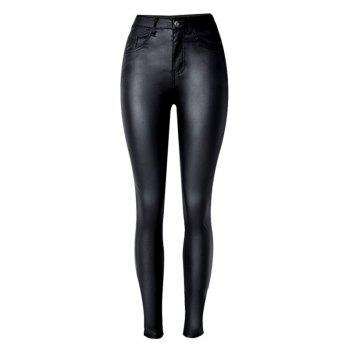 Stretchy  Faux Leather Ponte Pants