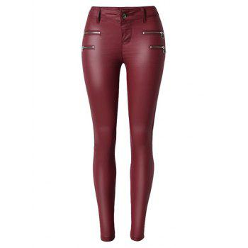 Zippers Faux Leather Low  Rise Pants