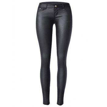 Low Waist Faux Leather Skinny Pants
