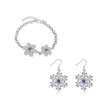 Artificial Amethyst Snowflake Christmas Bracelet and Earrings