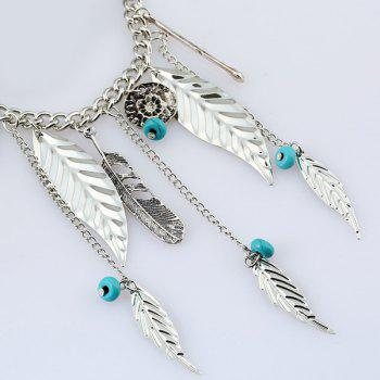 Bohemian Artificial Turquoise Beads Feather Necklace - SILVER