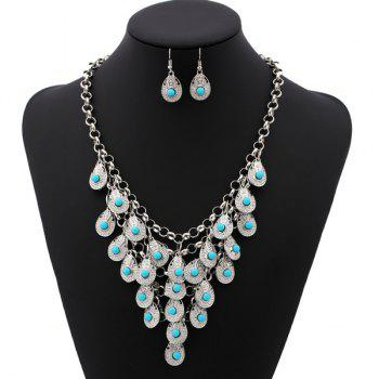 Bohemian Beads Pendant Necklace and Earrings