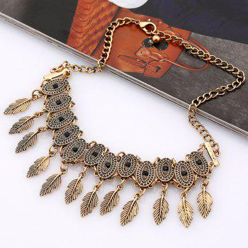 Alloy Oval Leaf Choker Necklace