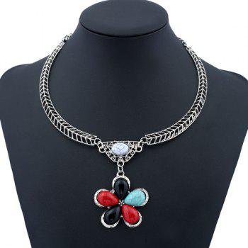 Vintage Artificial Gem Flower Shape Necklace