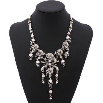 Vintage Rhinestone Skull Bone Necklace