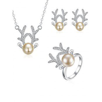 Rhinestone Christmas Elk Jewelry Set