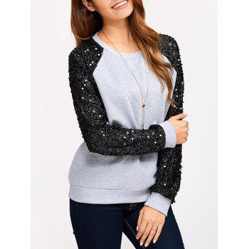 Sequins Spliced Raglan Sleeve Sweatshirt
