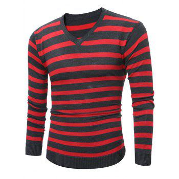 V Neck Knitted Striped Sweater