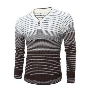 V Neck Knitted Ombre Striped Sweater