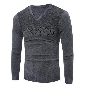 Argyle Graphic Spliced V Neck Knitting Sweater