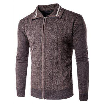 Argyle Kink Design Turndown Collar Zip Up Cardigan