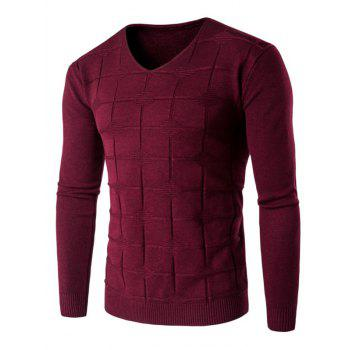 Checked Graphic V Neck Knitting Sweater