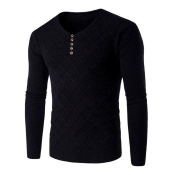 Buttons V Neck Argyle Kink Design Knitting Sweater