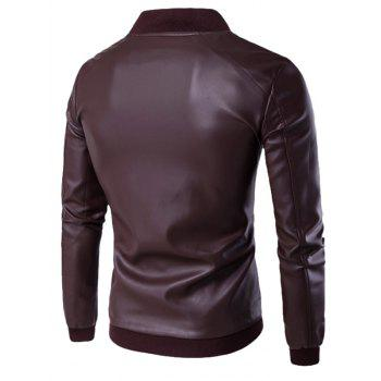 Stand Collar PU Leather Zip Up Jacket - WINE RED 3XL