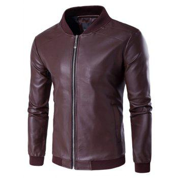 Stand Collar PU Leather Zip Up Jacket