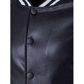 PU Leather Stand Collar Stripe Rib Splicing Jacket - BLACK L