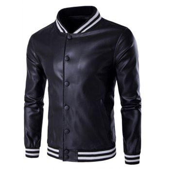 PU Leather Stand Collar Stripe Rib Splicing Jacket