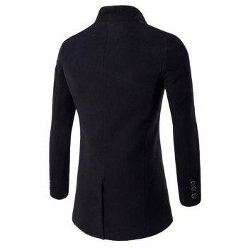 One Button Design Stand Collar Longline Woolen Coat - BLACK 2XL