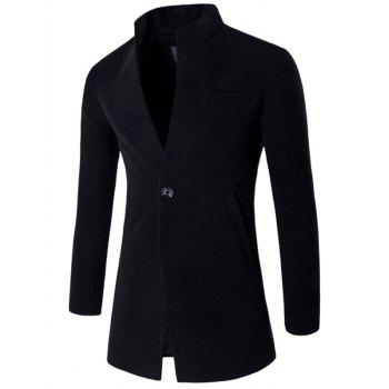 One Button Design Stand Collar Longline Woolen Coat