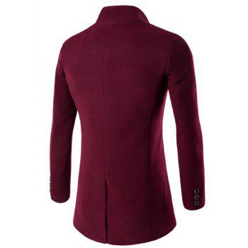 One Button Design Stand Collar Longline Woolen Coat - WINE RED M