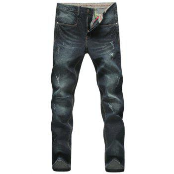 Cat's Whisker Narrow Feet Bleach Wash Plus Size Jeans