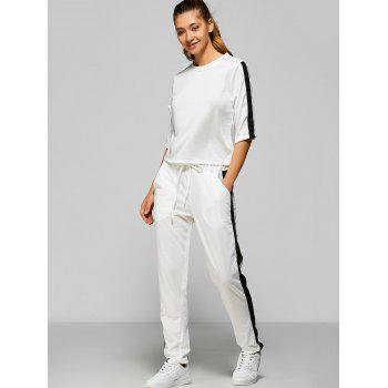 Contrast Drawstring Pocket Design Gym Suit - WHITE WHITE
