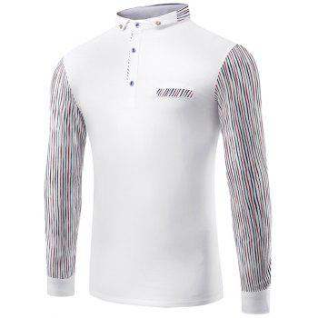 Striped Splicing Design Polo Collar T-Shirt