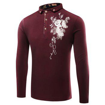 Florals Embroidered Polo Collar Buttons Design T-Shirt