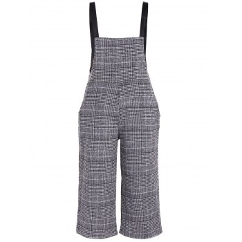 Plus Size Houndstooth Check Overalls