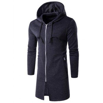 Longline Hooded Zip Up Hoodie