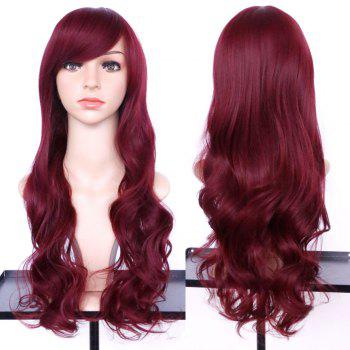 Synthetic Long Oblique Bang Wavy Wig