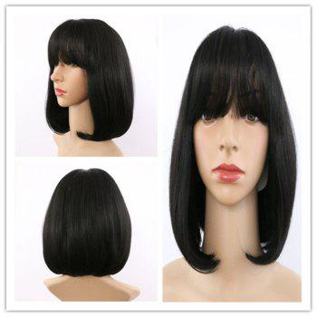 Short Synthetic Straight Neat Bang Wig