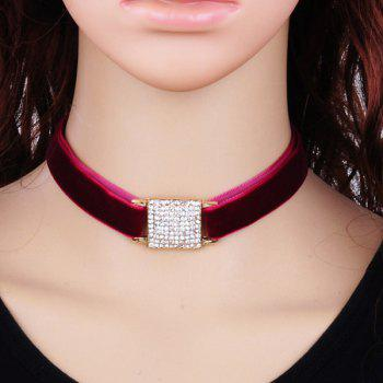 Velvet Rhinestone Square Choker Necklace