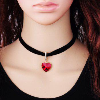 Collier choker pendentif strass coeur