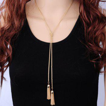 Double Tassel Alloy Sweater Chain - GOLDEN GOLDEN