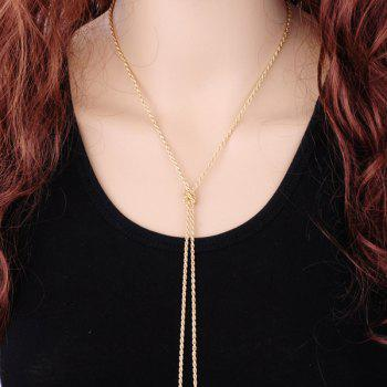 Double Tassel Alloy Sweater Chain -  GOLDEN